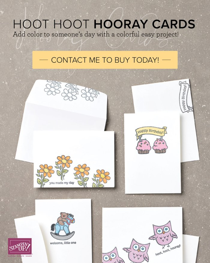 Hoot Hoot Hooray Cards with Wendy Lee, stampin Up, SU, #creativeleeyours, hand made card, friend, birthday, hello, thanks, flowers, celebration, creatively yours, creative-lee yours, DIY, kit, special, thankful, project kit, video, product tips & techniques, rubber stamps, stamping, kit, #simplestamping, graduation, anniversary, smile, thank you, amazing, fast & easy, new baby, friendship, support, watercolor pencils, note cards