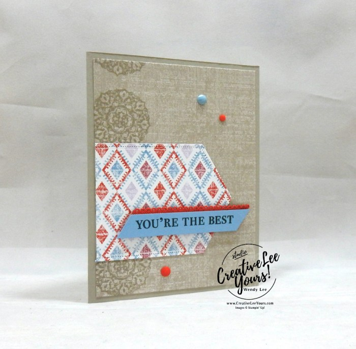 You're The Best by Wendy Lee, July 2019 On My Mind Paper Pumpkin Kit, , stampin up, handmade cards, rubber stamps, stamping, kit, subscription, #creativeleeyours, creatively yours, creative-lee yours, birthday, celebration, graduation, anniversary, smile, thank you, amazing, alternate, bonus tutorial, fast & easy, DIY, #simplestamping, card kit, nautical, maritime, woven threads, garden lane, come sail away, pattern paper, stitched nest labels, in color