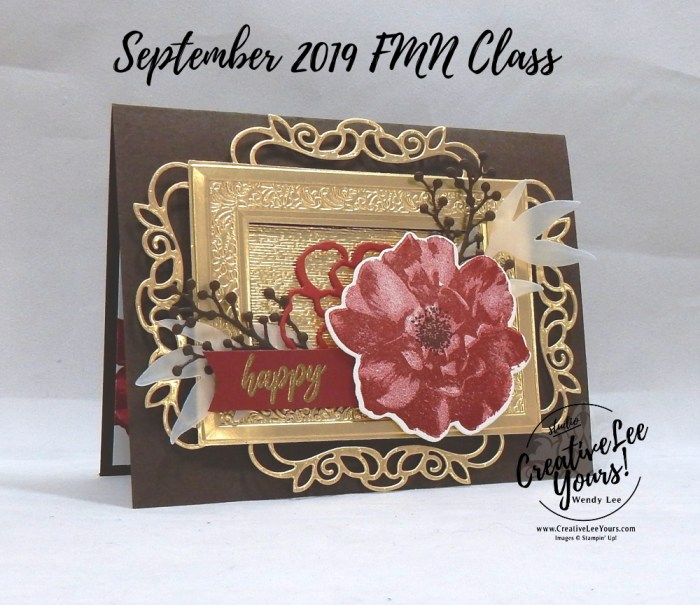 Framed Rose Birthday by Wendy Lee, Tutorial, card club, stampin Up, SU, #creativeleeyours, hand made card, technique, 2 step stamping, roses, friend, birthday, hello, thanks, flowers, celebration, stamping, creatively yours, creative-lee yours, To A Wild Rose stamp set, Wild Rose dies, embossing, frosted bouquet dies, detailed bands dies, subtle folder, heirloom frames, DIY, FMN, forget me knot, september 2019, class, card club, technique