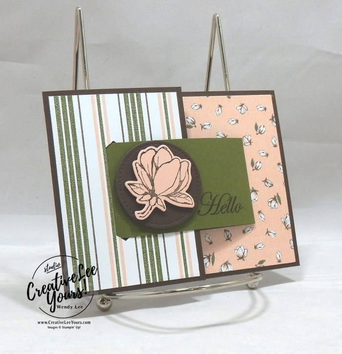 Hello Buckle by Sheila Tatum, Wendy Lee, stampin Up, SU, #creativeleeyours, hand made card, technique, creativity, accomplishment, share, joy, customize, friend, birthday, hello, thanks, celebration, stamping, creatively yours, creative-lee yours, Good Morning Magnolia stamp set, fun fold, buckle, DIY, technique, patternpaper, magnolia, flowers, Diemonds team meeting, business opportunity, home business