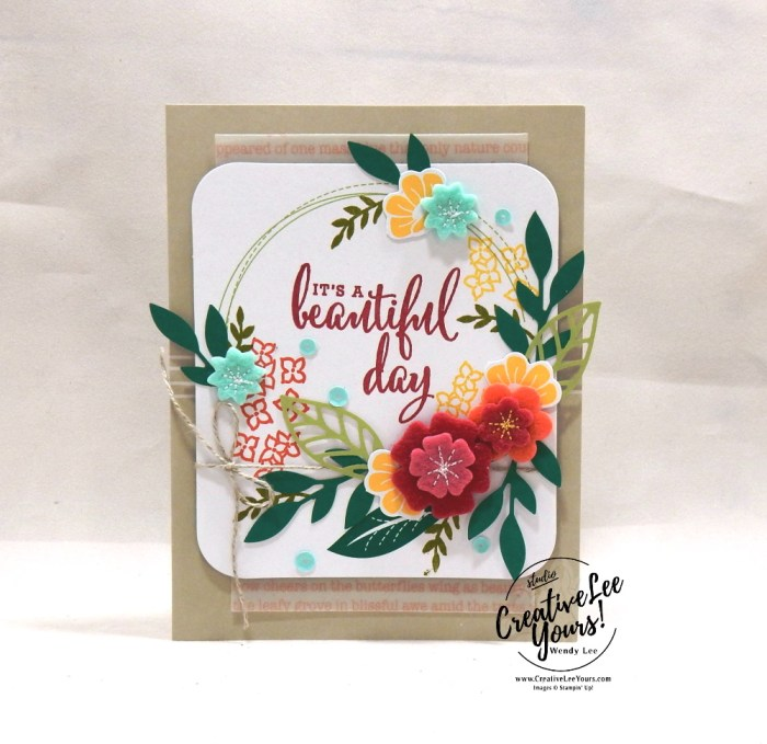 Beautiful Day by Wendy Lee, For the Love of Felt Kit, alternate, tutorial, stampin Up, SU, #creativeleeyours, hand made card, friend, birthday, hello, thanks, flowers, celebration, creatively yours, creative-lee yours, DIY, product tip, felt, kit, special, thankful, project kit, love what you do stamp set, felt flowers