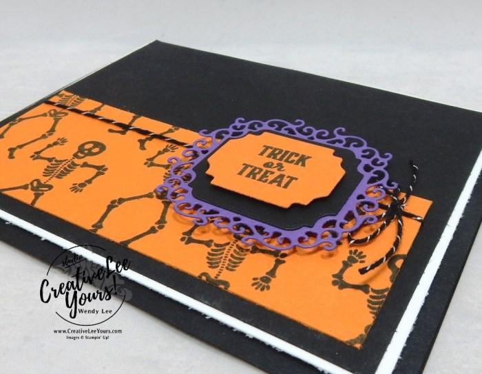 Trick-Or-Treat by Wendy Lee, September 2019 Bone Appetit Paper Pumpkin Kit, stampin up, handmade cards, rubber stamps, stamping, kit, subscription, #creativeleeyours, creatively yours, creative-lee yours, birthday, celebration, graduation, anniversary, smile, thank you, grateful amazing, Halloween, skeleton, alternate, bonus tutorial, fast & easy, DIY, #simplestamping, card kit, masculine, gift bags, treats, spider web