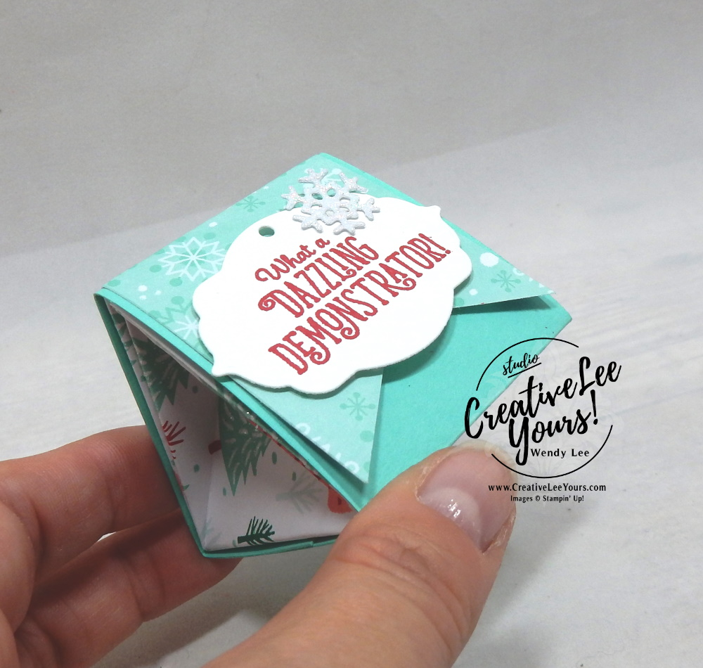 OnStage Diemonds team gifts by wendy lee, stampin up, stamping, handmade, SU, #creativeleeyours, creatively yours, creative-lee yours, SU cards, treat holder ,SU events, business opportunity, #makemoneyathome, scissor charms, tutorial, triangle treat box, Make a difference stamp set, stamping your way to the top stamp set