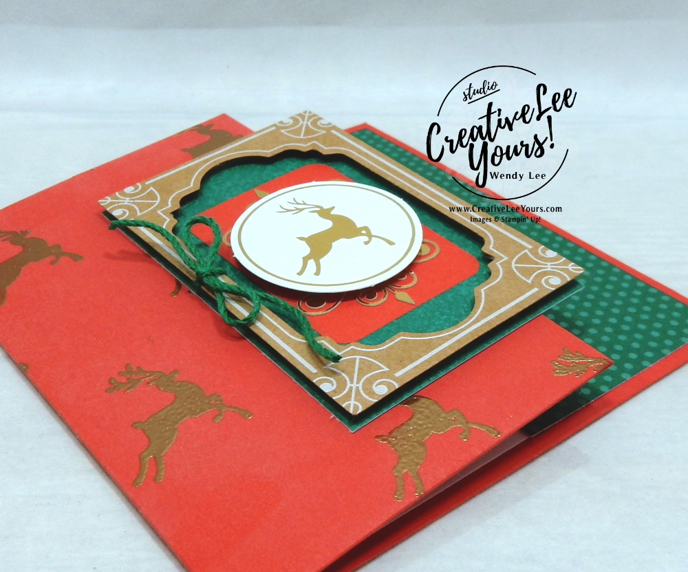Dashing Deer by Wendy Lee, Tutorial, Joy of Giving tag kit, stampin Up, SU, #creativeleeyours, hand made, technique, joy of giving stamp set, gold foil, Christmas, friend, celebration, stamping, creatively yours, creative-lee yours, DIY, class, kit, #simplestamping, alternate, gift card holders, embossing, deer, holly, FREE gift, masculine,#patternpaper