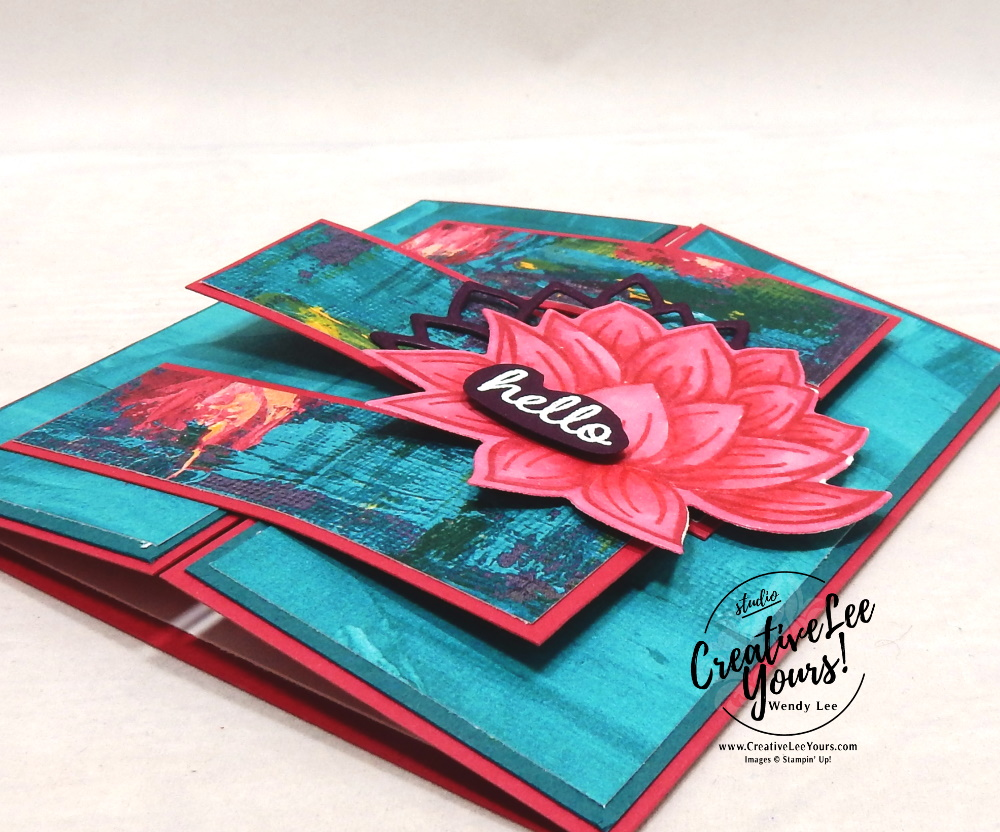 Hello Crossover Gate Fold by Wendy Lee, stampin Up, SU, #creativeleeyours, handmade card, lovely lily pad stamp set, Timeless Tulips stamp set, friend, celebration, stamping, thank you, creatively yours, creative-lee yours, DIY, birthday, emboss, flowers, lily pad, SAB, paper crafts, Sale-a-bration, lily pad dies, heat emboss, fun fold, tutorial
