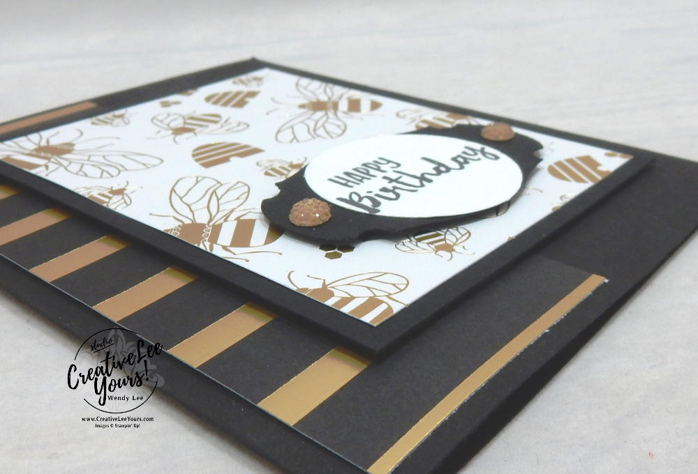 Sending you a happy birthday by Wendy Lee, Tutorial, stampin Up, SU, #creativeleeyours, handmade card, sending you thoughts stamp set, friend, celebration, stamping, creatively yours, creative-lee yours, DIY, birthday, SAB, saleabration, papercrafts, SA< saleabration, golden honey, patternpaper, diemonds team, business opportunity