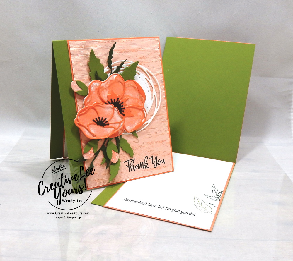 Thank You Collage by Wendy Lee, stampin Up, SU, #creativeleeyours, handmade card, painted poppies stamp set, peaceful moments stamp set, friend, celebration, stamping, creatively yours, creative-lee yours, DIY, birthday, SAB, saleabration, papercrafts, golden honey, patternpaper, birch stamp set, online class, college