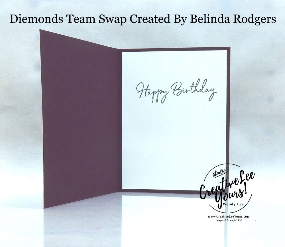 Birthday Cake by Belinda Rodgers, Wendy Lee, stampin Up, SU, #creativeleeyours, handmade card, happy birthday to you stamp set, friend, celebration, stamping, creatively yours, creative-lee yours, DIY, birthday, SAB, saleabration, papercrafts, pattern paper, lily impressions, diemonds team swap, business opportunity