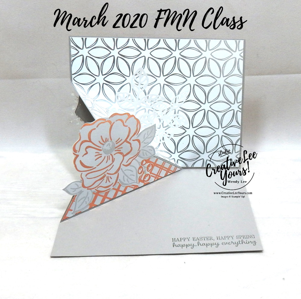 Flowering Foils Corner Flip by wendy lee, Stampin Up, #creativeleeyours, wendy lee, creatively yours, creative-lee yours, stamping, paper crafting, handmade, cards, class, friend, crafts, thinking of you, birthday, sympathy, thank you, congratulations, corner flip fun fold, tutorial, card club, FMN, forget me not, card class, timeless tulips, everything is rosy, flowering foils, SAB, sale-a-bration, wild rose