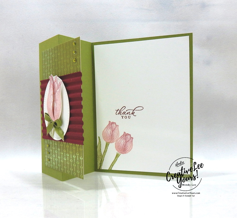 Thank You Tulips by wendy lee, Stampin Up, #creativeleeyours, wendy lee, creatively yours, creative-lee yours, stamping, paper crafting, handmade, cards, friend, crafts, thinking of you, birthday, sympathy, thank you, congratulations, international highlights, kylie bertucci, #papercrafts , #papercraft , #papercrafting , #makeacardsendacard ,#makeacardchangealife , fun fold, z-fold, timeless tulips, timeless tropical, sponging technique