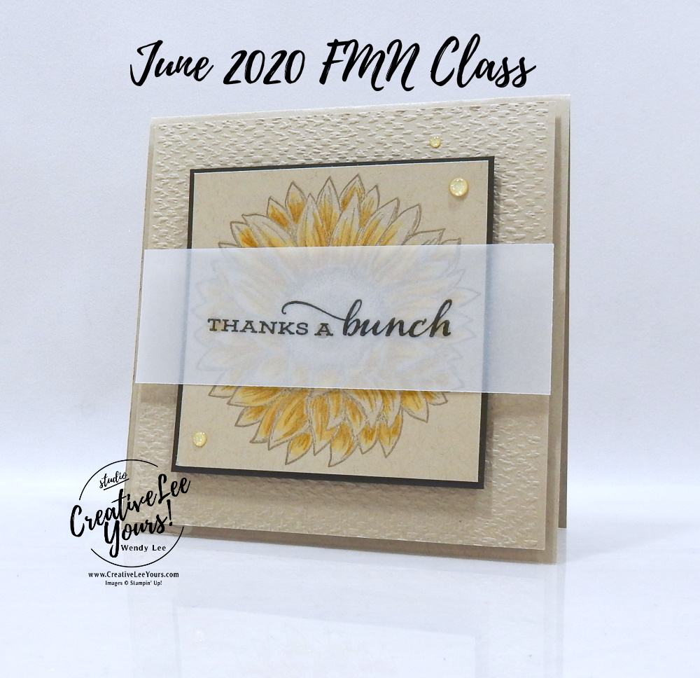 Shimmery Sunflower by wendy lee, stampin up, stamping, SU, #creativeleeyours, creatively yours, creative-lee yours, #cardmaking #handmadecard #rubberstamps #stamping, friend, celebration, congratulations, thank you, friend, hello, stamping, DIY, paper crafts, tutorial, FMN, forget me not, card club, class, celebrate sunflowers stamp set, #makeacardsendacard ,#makeacardchangealife, tasteful textile, watercolor pencils, shimmer paint ,#technique ,#techniques