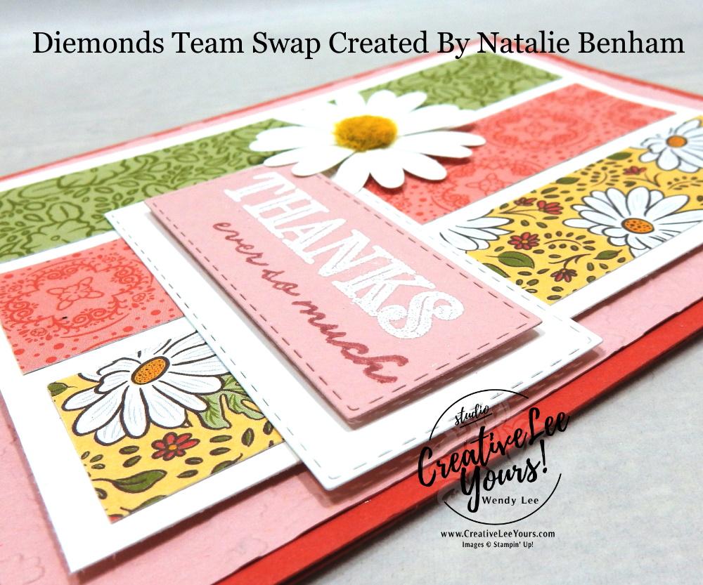 Thanks Ever So Much by Natalie Benham, Wendy Lee, stampin Up, SU, #creativeleeyours, handmade card, ornate thanks stamp set, daisy delight stamp set, friend, celebration, wedding, stamping, creatively yours, creative-lee yours, DIY, birthday, papercrafts, business opportunity, #makeacardsendacard ,#makeacardchangealife , #diemondsteam ,#diemondsteamswap ,#businessopportunity, flowers, stitched rectangle dies, emboss, rubberstamps, #loveitchopit, pattern paper