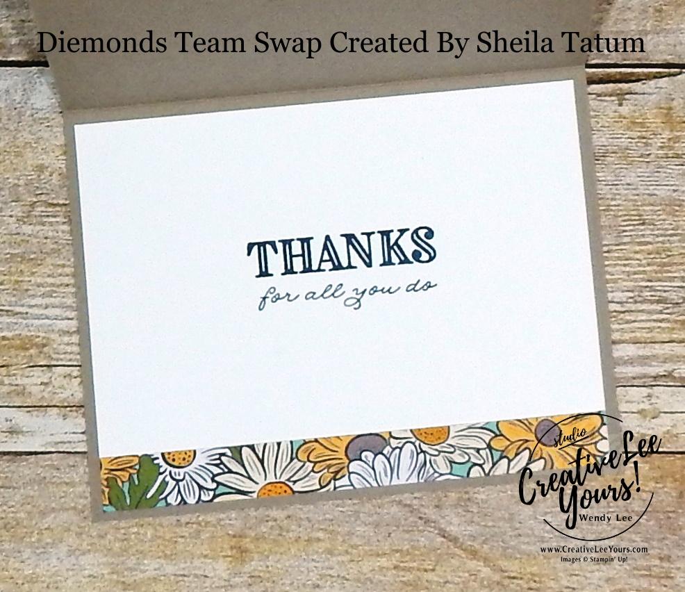 You're Amazing by Sheila Tatum, Wendy Lee, stampin Up, SU, #creativeleeyours, handmade card, ornate thanks stamp set, ornate garden stamp set, friend, celebration, wedding, stamping, creatively yours, creative-lee yours, DIY, birthday, papercrafts, business opportunity, #makeacardsendacard ,#makeacardchangealife , #diemondsteam ,#diemondsteamswap ,#businessopportunity, flowers, rubberstamps