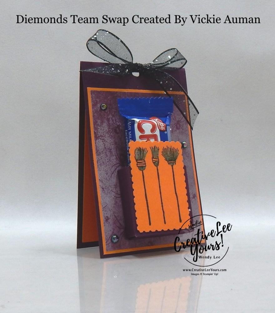 Festive Halloween Treat Holder by Vickie Auman, Wendy Lee, stampin Up, SU, #creativeleeyours, handmade card, Festive Post stamp set, friend, celebration, stamping, creatively yours, creative-lee yours, DIY, birthday, Halloween, 3D, candy treat holder, papercrafts, #makeacardsendacard ,#makeacardchangealife , #diemondsteam ,#diemondsteamswap ,#businessopportunity, rubberstamps, #stampinupdemonstrator , #cardmaking, #papercrafts , #papercraft , #papercrafting , #papercraftingsupplies, #papercraftingisfun,witches, broomsticks