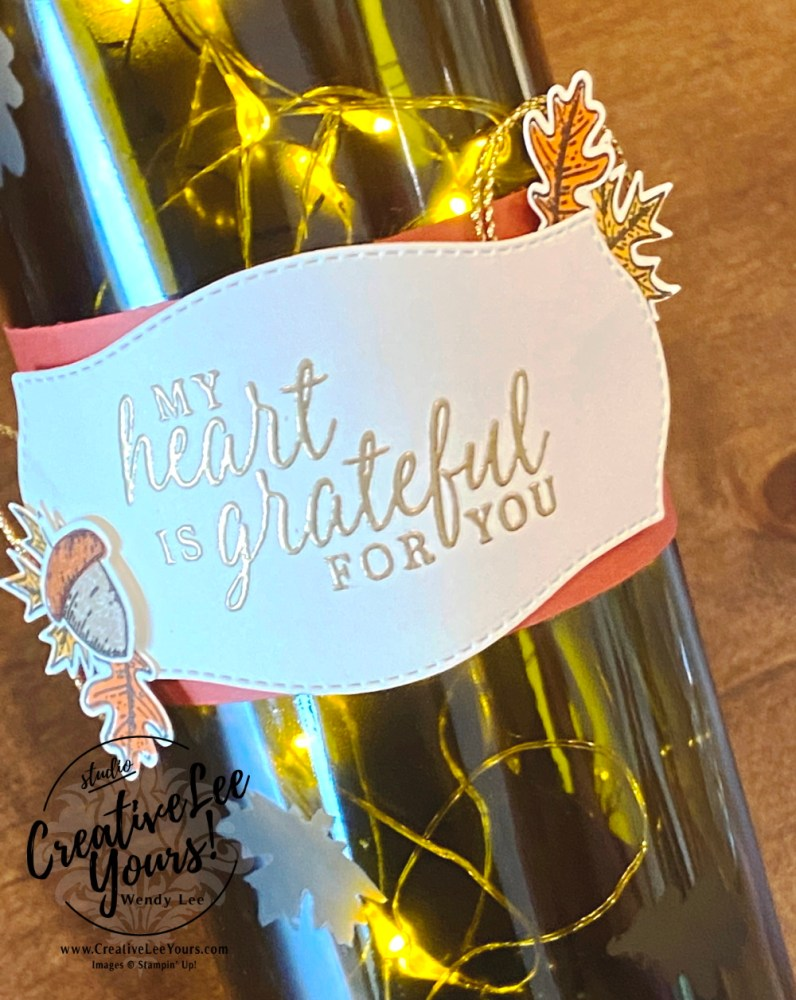 Craft & Sip with Wendy Lee, November 2020, etched wine bottles, fall, home décor, gifts, 3D, Pilot Mountain Vineyards & Winery, stampin up, handmade, rubber stamps, stamping, kit, #creativeleeyours, creatively yours, creative-lee yours, blessed, grateful, fall, autumn, wine