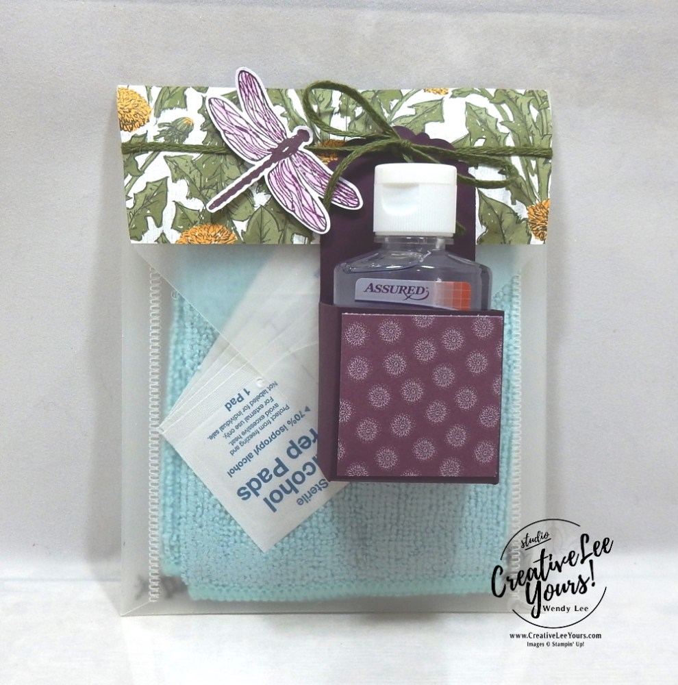 OnStage Diemonds team gifts by wendy lee, clear block cleaning kit, upcycle, re-purpose, stampin up, stamping, handmade, SU, #creativeleeyours, creatively yours, creative-lee yours, SU cards, gift pouch ,SU events, business opportunity, #makemoneyathome, dragonfly, dragonfly garden stamp set, dandy garden DSP, pattern paper, #onstageathome ,#onstageathome2020, hand sanitizer, Dandy Garden Project Collection, tutorial, 3D