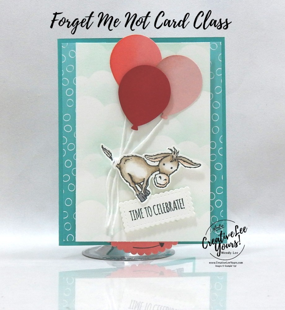 Birthday Spinner Pop-Up by wendy lee, Darling Donkeys stamp set, stampin up, stamping, SU, #creativeleeyours, creatively yours, creative-lee yours, #cardmaking, #handmadecard, #rubberstamps #stamping, friend, thinking of you, sympathy, thank you, birthday, love, anniversary, stamping, DIY, paper crafts, #papercrafting , #papercraftingsupplies, #papercraftingisfun , FMN, forget me not, ,#cardclub ,#cardclasses ,#onlinecardclasses , tutorial ,#tutorials , ,#funfoldcards ,#funfoldcard ,#makeacardsendacard ,#makeacardchangealife, #technique ,#techniques, blending brushes, no brad spinner, coloring with blends, #SAB, #saleabration