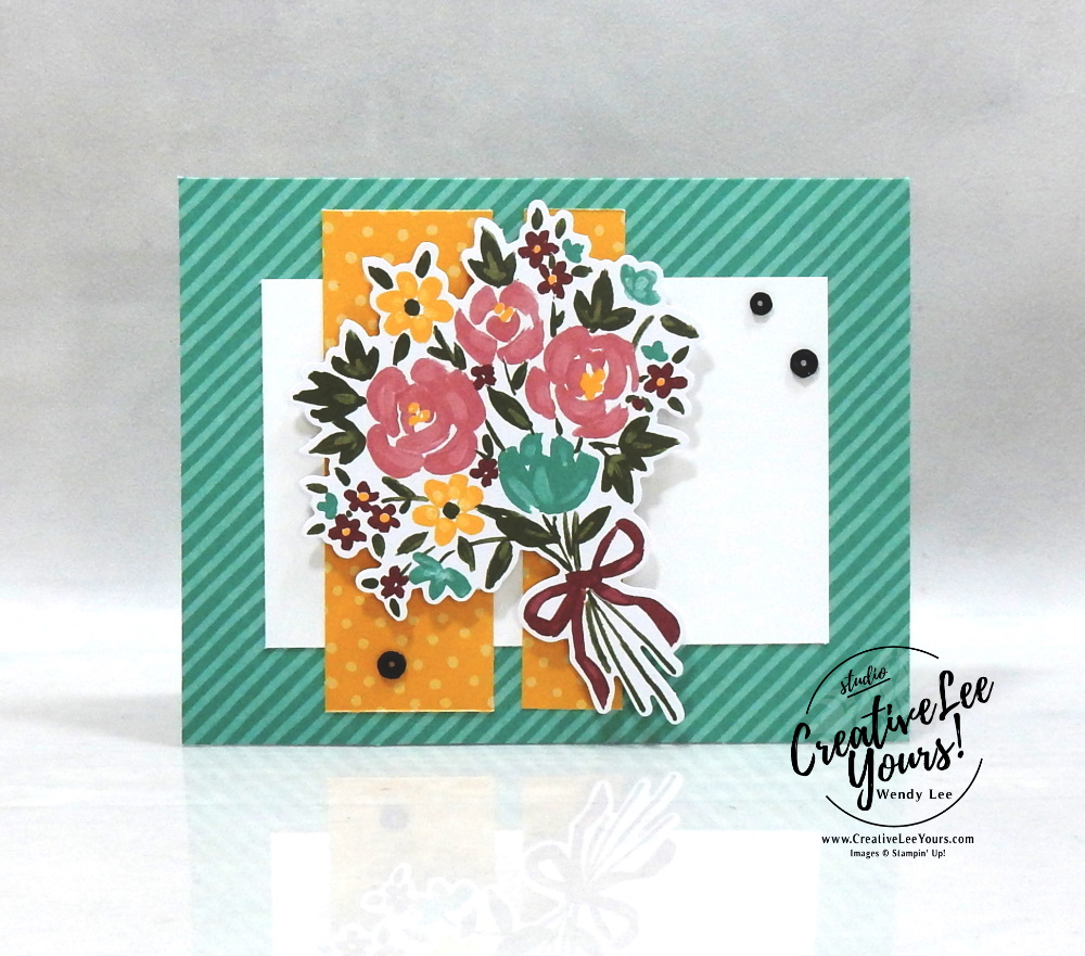 Beautiful Bouquet by Wendy Lee, February 2021 Paper Pumpkin Kit, BOUQUET OF HOPE, flower & field DSP, stampin up, handmade cards, rubber stamps, stamping, kit, subscription, #creativeleeyours, creatively yours, creative-lee yours, celebration, smile, thank you, hope, sorry, bouquet, birthday, sorry, thinking of you, love, congrats, lucky, feel better, sympathy, get well, grateful, comfort, encouragement, love, anniversary, wedding, bonus tutorial, fast & easy, DIY, #simplestamping, card kit, subscription, craft kit,