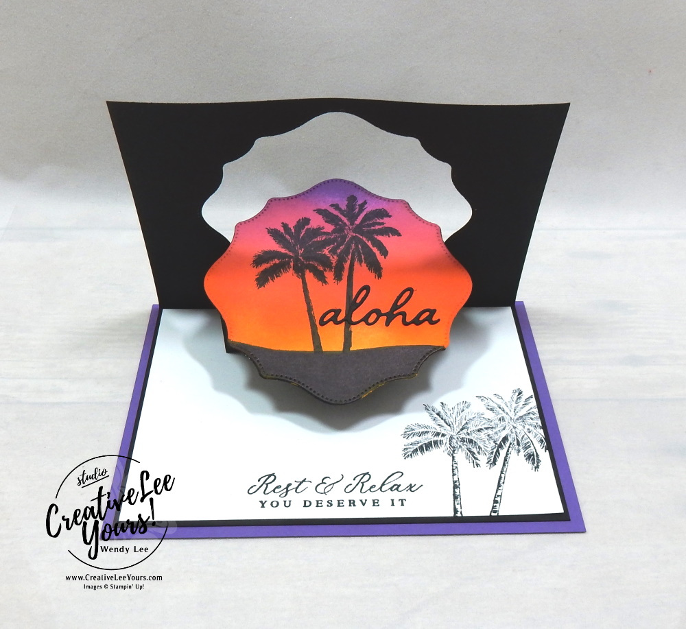 Aloha Pop & Flip by wendy lee, Maui Achievers Blog Hop, stampin up, stamping, SU, #creativeleeyours, creatively yours, creative-lee yours, #cardmaking, #handmadecard, #rubberstamps, #stamping, friend, celebration, congratulations, thank you, hello, birthday, thinking of you, love, anniversary, vacation, relax, tropical, DIY, paper crafts, #papercrafting , #papercraftingsupplies, #papercraftingisfun, #stampinupdemonstrator, #incentivetrip, #timelesstropical, #popandflip, #funfold, #hippoandfriends