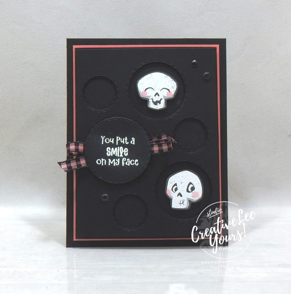 Cutest Smile by wendy lee, Maui Achievers Blog Hop, stampin up, stamping, SU, #creativeleeyours, creatively yours, creative-lee yours, #cardmaking, #handmadecard, #rubberstamps, #stamping, friend, celebration, congratulations, thank you, hello, birthday, thinking of you, love, anniversary, masculine, DIY, paper crafts, #papercrafting , #papercraftingsupplies, #papercraftingisfun, #stampinupdemonstrator, #incentivetrip, Cutest Halloween stamp set, Picture This dies, tutorial, Halloween, Skulls, Skeleton, Cute Halloween card