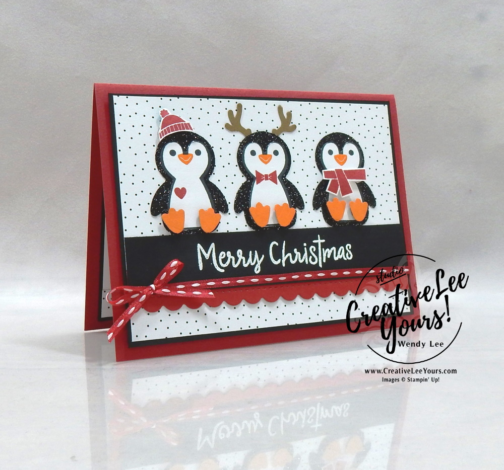 Christmas Penguins by wendy lee, #creativeleeyours, creatively yours, creative-lee yours, DIY, SU, rubber stamps, class, thank you, birthday, Christmas, Penguin Place stamp set, Snowman Season stamp set, friend, birthday, #stampinup, #stampinupdemonstrator, #love, #cardmaking, #handmadecard, #rubberstamps, #stamping,#tutorial ,#tutorials, #papercrafts , #papercraft , #papercrafting , #papercraftingsupplies, pattern party, #papercraftingisfun, #papercraftingideas, #makeacardsendacard ,#makeacardchangealife, Facebook live, video,#cardclasses ,#onlinecardclasses, #livepapercrafting, #facebooklive, #card, #friend, deer builder punch, #pennedflowers