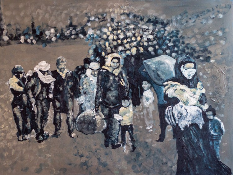 Refugees painting by Eva Lewarne