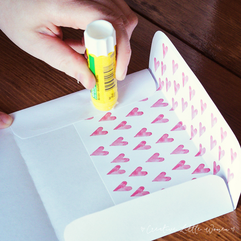 printable valentine card plus envelope liner