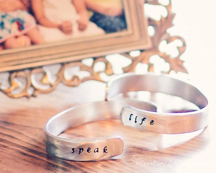 Pewter stamped bracelet.