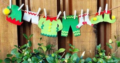 Elf Clothesline Garland with FREE Printable Patterns #creativelybeth #createwithkunin #christmascrafts #feltgarland