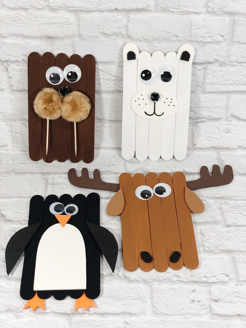 Quick and Easy Dollar Tree Craft Stick Arctic Animals Creatively Beth #creativelybeth #craftstickcrafts #dollartreecrafts #kidscrafts