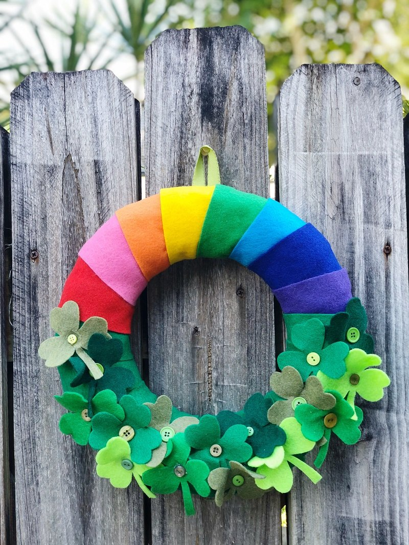 Lucky Rainbow Shamrock Wreath by Creatively Beth #creativelybeth #stpatricksday #crafts #rainbow #shamrock