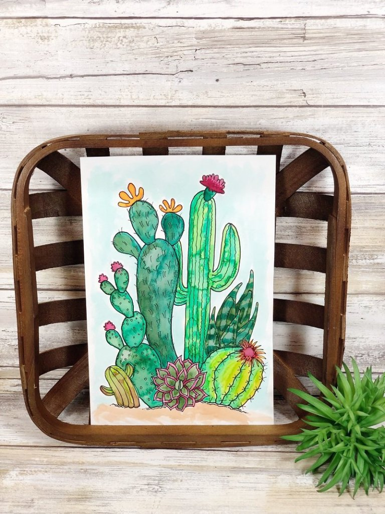 Watercolor a Free Cactus Printable with Creatively Beth #creativelybeth #watercolor #freeprintable #freedownload #cactus #succulents