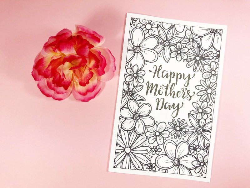 Happy Mother's Day FREE Cards to print and color Creatively Beth #creativelybeth #freeprintable #freedownload #coloring #mothersday #card #free