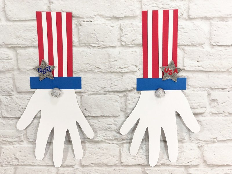 Hand Cut Out Uncle Sam Kids Craft Creatively Beth #creativelybeth #patrioticcraft #kids #craft #handprint