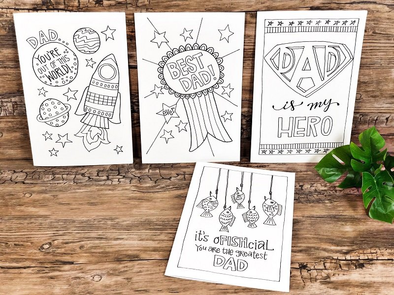 Free hand drawn Father's Day Cards to download, print and color Creatively Beth #creativelybeth #freeprintable #fathersday #cards #handdrawn #coloringpage #printandcolor