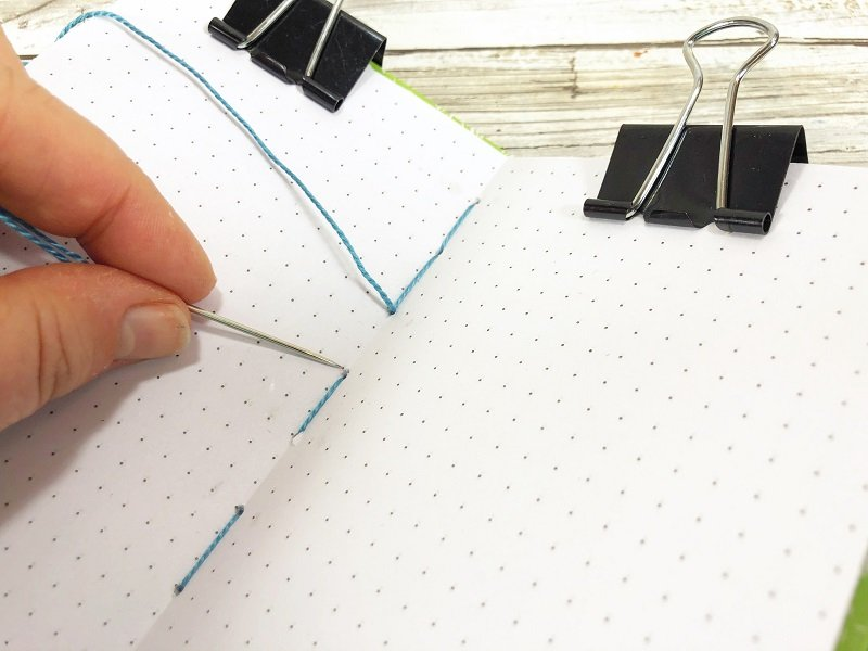 Pierce holes along spine of recycled cereal box notebook and secure pages to cover with embroidery floss #creativelybeth #recycled #crafts #notebooks #journals #upcycled