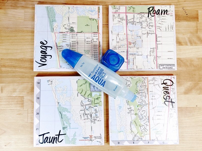 Seal and make water resistent with another layer of MONO Aqua Liquid Glue Creatively Beth #creativelybeth #upcycled #recycled #crafts #maps