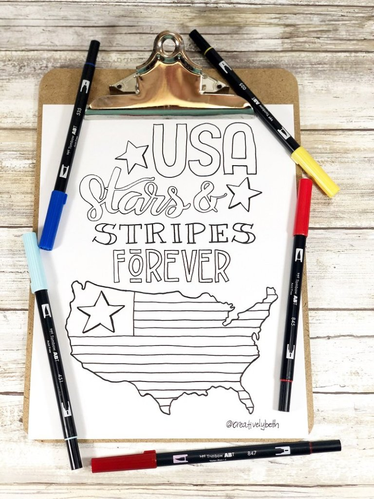 Stars and Stripes Forever coloring page Creatively Beth #creativelybeth #free #printable #coloringpage #printandcolor #fourthofjuly #handdrawn