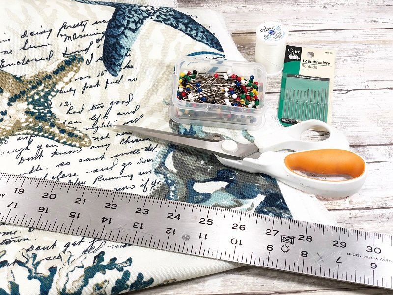 Supplies needed to sew outdoor cushions for patio chairs Creatively Beth #creativelybeth #sewing #quickandeasy #sewpatiocushions