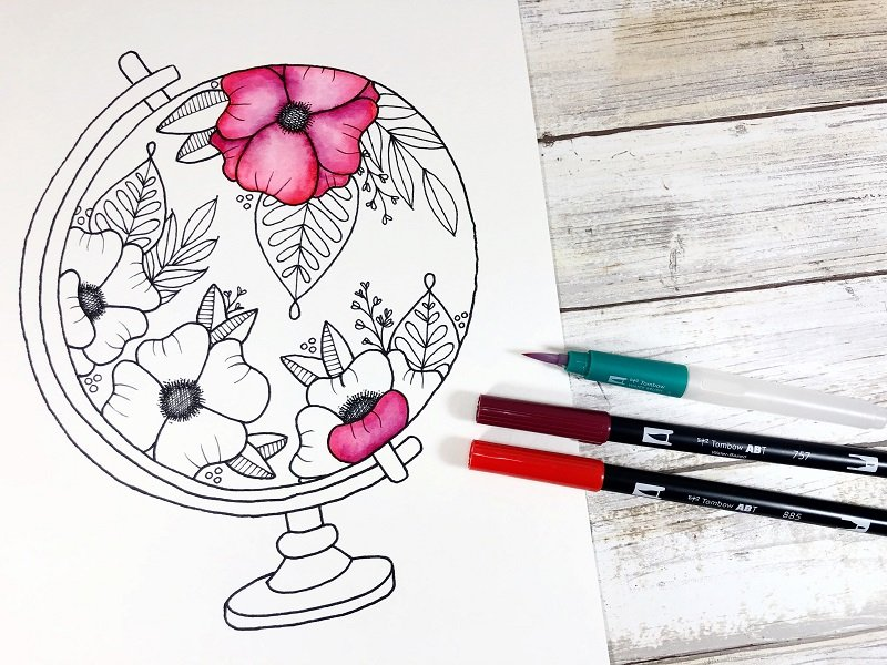 Apply colors directly to the watercolor papr and blend with the Water Brush Creatively Beth #creativelybeth #freeprintable #handdrawn #watercolor #tombowdualbrushpens