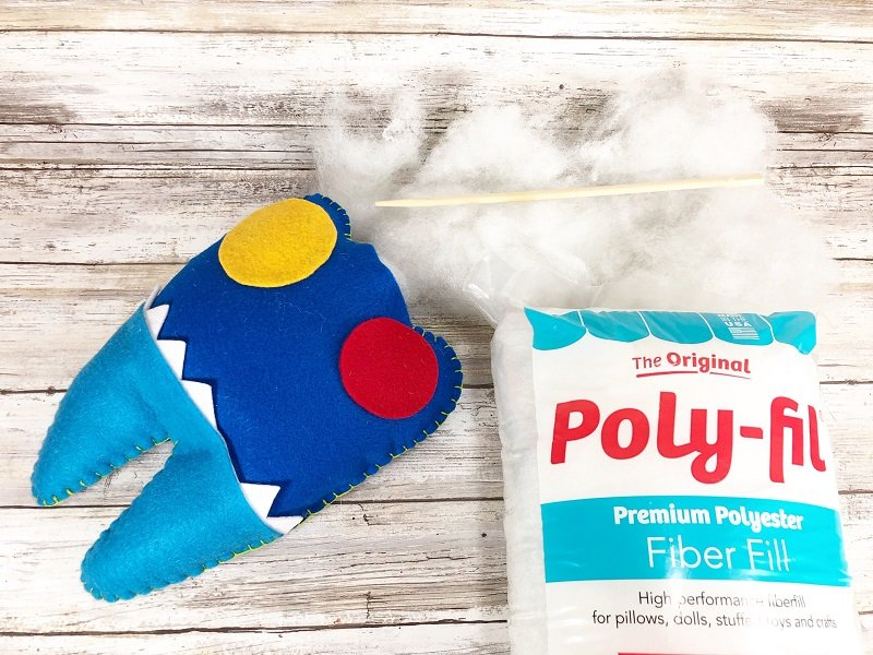 Leave a section open and then stuff the Tooth Fairy Monster Pillow with Poly-Fil from Fairfield World Creatively Beth #creativelybeth #toothfairy #fairfieldworld #80daysofpolyfil #polyfil #felt #monster #craft