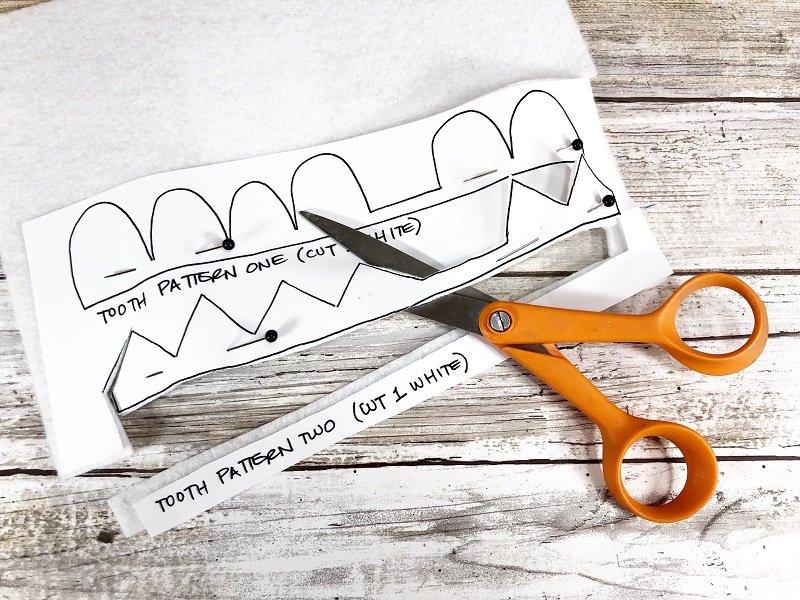 Cut out teeth pattern from white felt Creatively Beth #creativelybeth #toothfairy #fairfieldworld #80daysofpolyfil #polyfil #felt #monster #craft