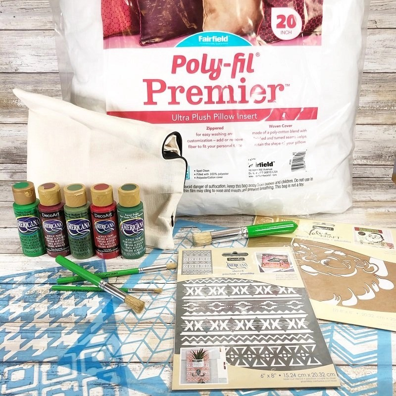 All the Stenciling materials needed for an Ugly Sweater Pillow Creatively Beth #creativelybeth #fairfieldworls #uglychristmassweater #pillowparty2020 #stenciled #decoart