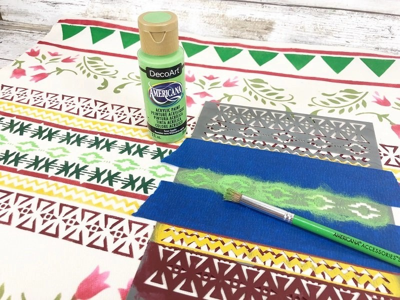 Loving this bright green accent stencil Creatively Beth #creativelybeth #fairfieldworls #uglychristmassweater #pillowparty2020 #stenciled #decoart