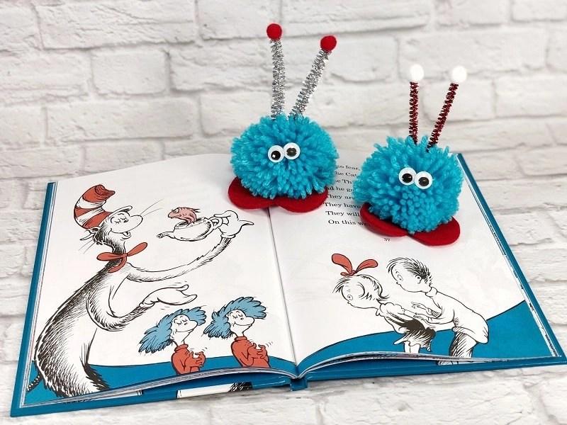 Pom Pom Love Bug Craft Thing 1 and Thing 2 Creatively Beth #creativelybeth #pompomcraft #lovebug #drseuss #catinthehat #thing1andthing2 #pompomcraft