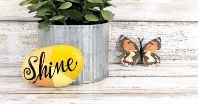 Hand Lettered Painted Rock with DecoArt by Creatively Beth #creativelybeth #decoart #handlettered #tombowusa #paintedrock #rockpainting