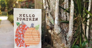 DIY Fall Pumpkin Flag with Therm-O-Web Adhesives by Creatively Beth #creativelybeth #thermoweb #heatnbond #gardenflag #waterprooffabric