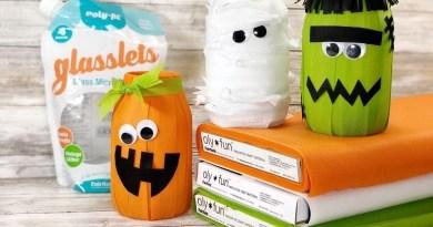 Halloween Mason Jar Luminaries with Fairfield Creatively Beth #creativelybeth #polyfilglasslets #olyfun #halloween #10minutecrafts #crafts #luminaries