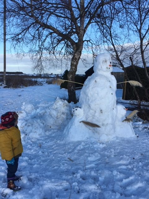 Lovely large Northumberland snowman and a little boy in a yellow coat