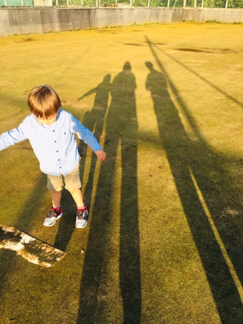 shadows of our family on a summer eve